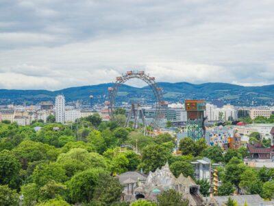 Blick auf das Riesenrad in Wien